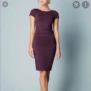 Boden Ruched Detail Dress knit Jersey Plum Sz 12